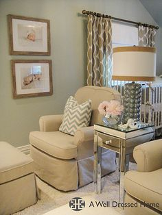 a design blog to remember wall colors, nursery colors, living rooms, color schemes, nurseri, design blogs, sitting areas, curtain, babies rooms
