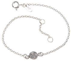 Zartes Armband mit kleinem, zirkoniasteinbesetztem Ornament in echt 925 Silber