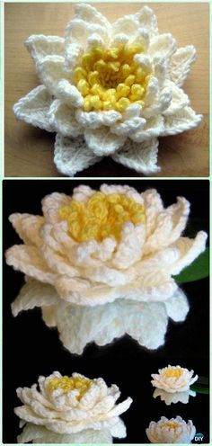 Crochet Water Lily Flower Free Pattern [Video] - #Crochet 3D Flower Motif Free Patterns