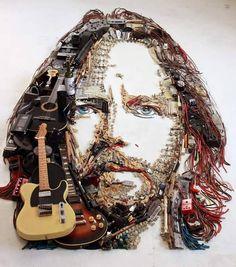 """Eddie Vedder"" Artwork by Christian Pierini 3d Portrait, Portraits, Eddie Vedder, Pearl Jam, Recycled Art, Street Art, Illustration Art, Christian, Instagram Posts"