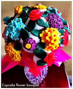 Cupcake flower bouquet Cupcake Flower Bouquets, Flower Cupcakes, Baking, Flowers, Bread, Backen, Royal Icing Flowers, Flower, Postres