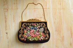 Vintage 1950's Floral Needle Point Clutch | Handmade in the Fabulous 50's by GracedVestige on Etsy