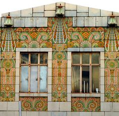 Tile covered facade on Main St. Kansas City, Missouri.