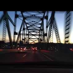 Sunset crossing over bridge to Ashland, KY