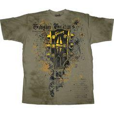 gibson shirts   Gibson Headstock Men's Washed T-Shirt