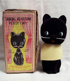 Pussycat Shaking Head Bank w/ orig. box...Japan, 1950s