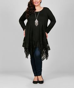 This Simply Aster Black Lace-Handkerchief Tunic - Plus by Simply Aster is perfect! #zulilyfinds