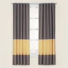 Kids Grey & Yellow Curtain Panels - modern - kids decor - - by The Land of Nod