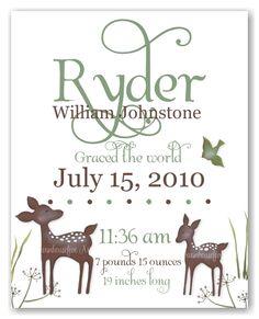 Deer in Forest Birth Print - simply simplistic