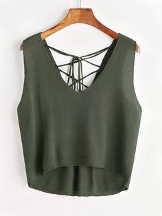 2dbd3756a2a83 Shop Lace Up Back Dip Hem Knit Tank Top online. SheIn offers Lace Up Back
