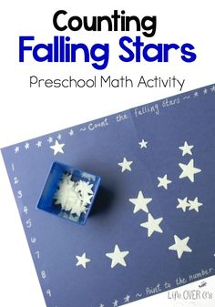 Counting Falling Stars: This Preschool math activity for counting is perfect for building number recognition and learning one-to-one correspondence. Space Activities, Preschool Learning Activities, Preschool Themes, Preschool Lessons, Teaching Math, Preschool Activities, Kids Learning, Kindergarten Themes, Preschool Projects