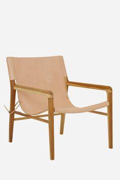 Leather Sling Chair - Teak & Natural // used in room here: https://stylebyemilyhenderson.com/blog/mels-living-room-reveal