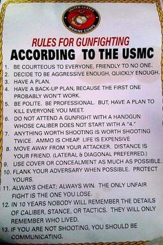 US Marine Corps Rules For Gunfighting … Military Quotes, Military Humor, Military Life, Usmc Quotes, Military Weapons, Marine Mom, Us Marine Corps, Marine Corps Quotes, Tactical Gear