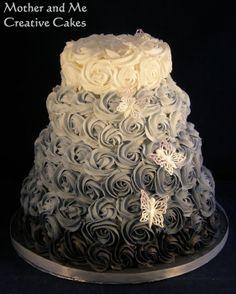 Rose swirl wedding cakes - by MotherandMe @ CakesDecor.com - cake decorating website