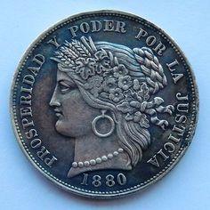 Cinco pesetas de 1880, Perú