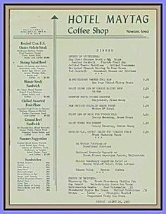 Hotel Maytag Coffee Shop, Vintage Menu 1957