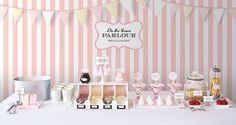 Love this 'Ice Cream Parlor' make-your-own-sundae idea for a party/shower.