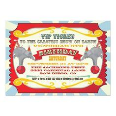 Circus or Carnival Ticket Birthday Invitation