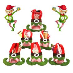 $7  6 Elf Felt Christmas Gift Bags– For Holiday Presents, Parties!