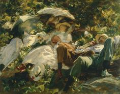 Only in his later career did Sargent start to move towards Impressionism as in this group with parasols.
