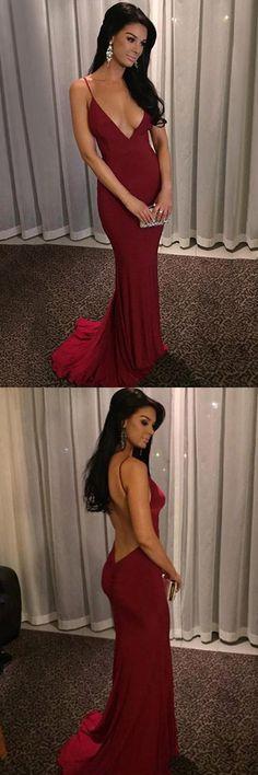 Burgundy Prom Dresses Sexy, Long Party Dresses 2018, Sheath/Column Formal Dresses V-neck Ruffles, Chiffon Evening Gowns Backless