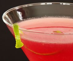 St. Germain Cosmo. Vodka, cranberry, St. Germain, lime. Delish!