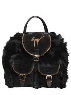 GIUSEPPE ZANOTTI - FAUX FUR BACKPACK WITH SUEDE DETAILS - LUISAVIAROMA - LUXURY SHOPPING WORLDWIDE SHIPPING - FLORENCE