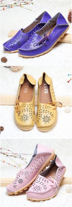 Big Size Breathable Hollow Out Flat Lace Up Soft Leather Shoes