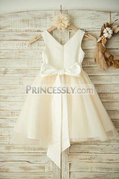 b06316ed0cb V Neck Ivory Satin Champagne Tulle Wedding Flower Girl Dress with Beaded  Belt  KidsShoesDeals Modern