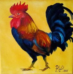 Oil Painting Rooster Kitchen Decor Country art Chicken Decor Colorful Wall art Home Living Small canvas art Original Small Oil Painting by svetlayalana on Etsy