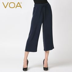 Find More Pants & Capris Information about VOA dark blue heavy silk trousers leisure pants female casual loose half pants simple thickening K5356,High Quality pant clips for boots,China trouser jeans plus size Suppliers, Cheap pants shorts from VOA Flagship Shop on Aliexpress.com