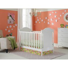 Fisher-Price Savannah 3-in-1 Fixed-Side Convertible Crib, Snow White