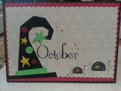 OCTOBER Handmade Scrapbook Style Greeting by CraftyCrossStitches