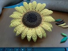 3D origami Sunflower Tutorial Assembly for beginners - YouTube