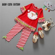 Retail 2016 Autumn winter Kids Girls Clothing Set Christmas t shirt+Striped Pants Baby Girls Suits Christmas Children Clothes(China (Mainland))