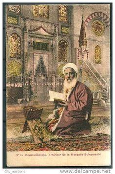 TURKEY TURQUIE CONSTANTINOPLE ISTANBUL TURKISH IMAM (HODZA) INTERIEUR DE LA MOSQUEE SULEYMANIE -G