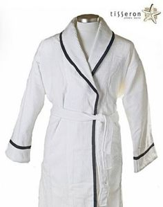 ea8a467cad  110 - A classic white 100% organic fine ribbed cotton bathrobe with navy  blue braid