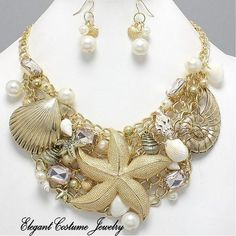 Image detail for -Shell Starfish Pearl Chunky Necklace Set Elegant Costume Jewelry Gold ...