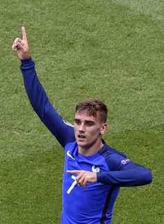 #EURO2016 France's forward Antoine Griezmann celebrates scoring a second goal during the Euro 2016 round of 16 football match between France and Republic of...