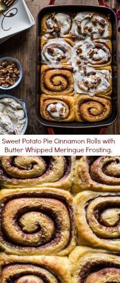 Sweet Potato Pie Cinnamon Rolls with Butter Whipped Meringue Frosting | halfbakedharvest.com @hbharvest