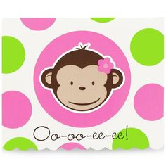Pink Mod Monkey Invitations from BirthdayExpress.com