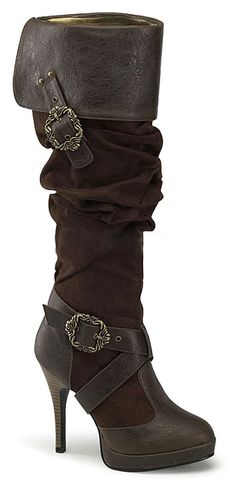 4 Inch Sexy Costume Boots Brown or Black Pirate Boots Octopus Buckles Costume Microfiber High Heel Boots, Knee Boots, Heeled Boots, High Heels, Women's Boots, Ankle Booties, Skirt Boots, Gladiator Boots, Pink Boots