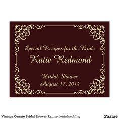 Vintage Ornate Bridal Shower Recipe Cards