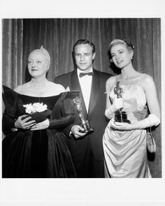 Bette Davis, Marlon Brando, and Grace Kelly, 1955