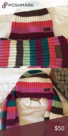 Authentic Coach hat & scarf Perfect condition! Worn maybe three times. Perfect for fall 🍁🍂🌻 Coach Accessories Hats