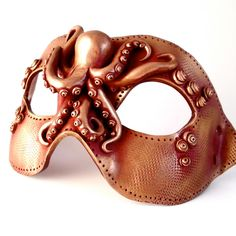 """Steampunk Octopus Mask: Polymer Clay Vegan """"Leather"""" MADE TO ORDER. $70.00, via Etsy."""