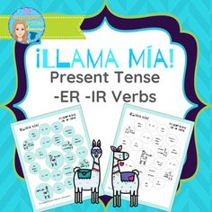 Spanish Present Tense ER and IR Verbs Llama Mía Speaking Activity Spanish Games, Spanish 1, Spanish Activities, Spanish Class, High School Spanish, Spanish Teacher, Teaching Spanish, Spanish Verb Conjugation, Present Tense Verbs