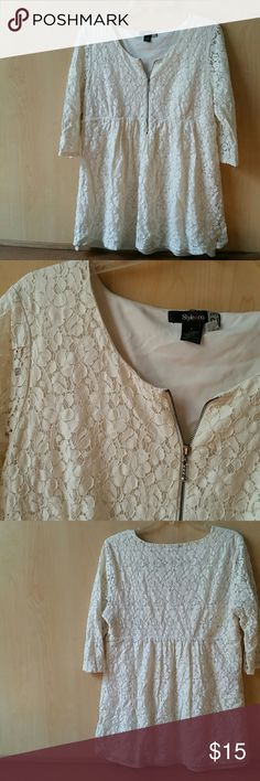 Style & Co. Lace Tunic Blouse Lace Tunic Blouse from Style & Co. Working zippsr in front. Great condition but normal wear under arms. Style & Co Tops Blouses