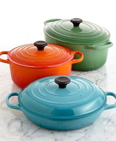 Le Creuset cast iron cookware, super durable and delightfully colorful!