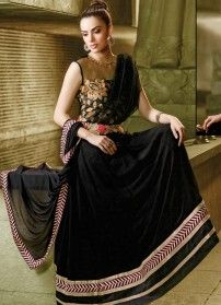 Black Georgette with Net Designer Salwar Kameez, kameez york is net patch and multi color embroidery. Kameez with chiffon dupatta &satoon buttom, approx kameez length 52 to 54 inches. TO CHECK THE EMBROIDERY QUALITY PLEASE MAIL US AT ind.sarees@gmail.com WITH ITEM CODE FOR LARGE IMAGE.